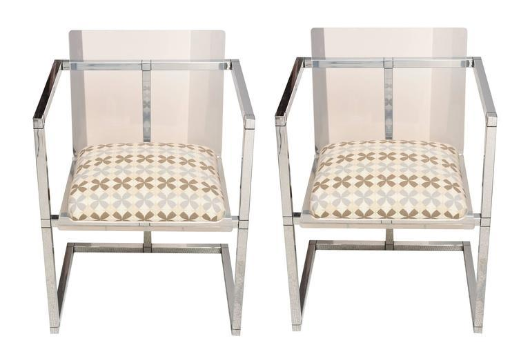 Pair Of Lucite And Polished Chrome Architectural Side Chairs   Image 2 Of 8