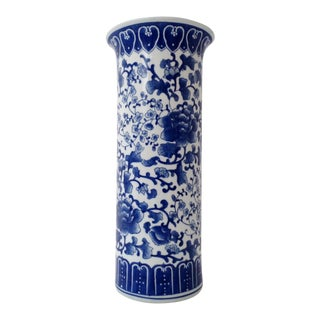 Vintage Chinese Blue & White Hand Painted Porcelain Umbrella Stand For Sale