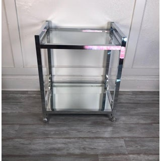 1970s Mid-Century Modern Chrome Glass and Mirror Bar Cart Preview