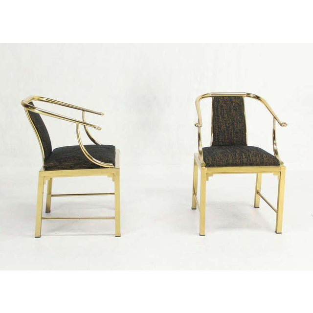 Gold Mid-Century Modern Pair of Brass Barrel Back Chairs by Mastercraft For Sale - Image 8 of 10