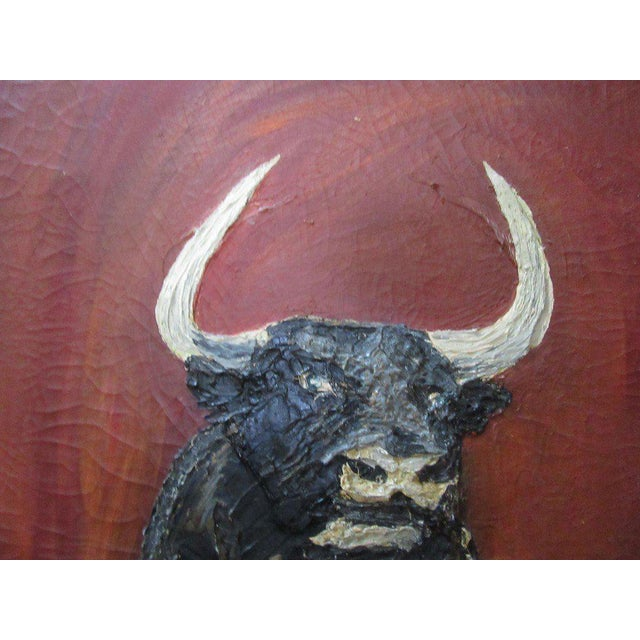 Thick Vintage Bull Painting - Image 4 of 7