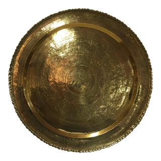 Large Asian Hand Carved Brass Tray