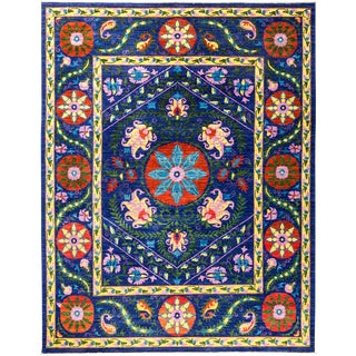 "Suzani, Hand Knotted Area Rug - 8'1"" X 10'3"" For Sale"