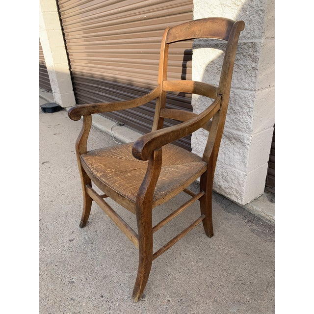 Mid 19th Century French Walnut Rush Seat Armchair For Sale - Image 4 of 13