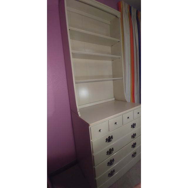 American Ethan Allen White Dresser & Hutch For Sale - Image 3 of 7