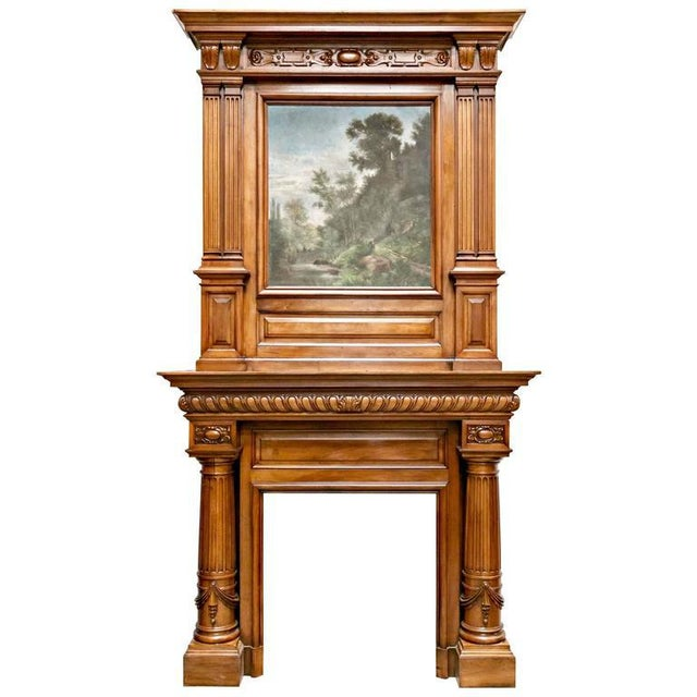 Monumental French Renaissance Revival Walnut Fireplace with Trumeau Overmantel For Sale - Image 11 of 11