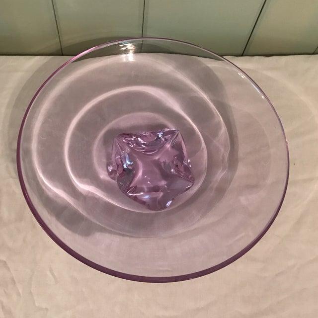 Hand Blown Purple Art Glass Decorative Bowl - Image 7 of 10