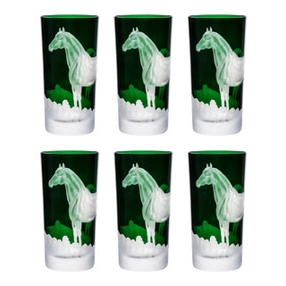 ARTEL Horse Highball Glass, Set of 6, British Green For Sale