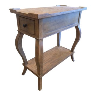 Antiqued Narrow Blonde Wood Side Table With Lower Shelf and Drawer