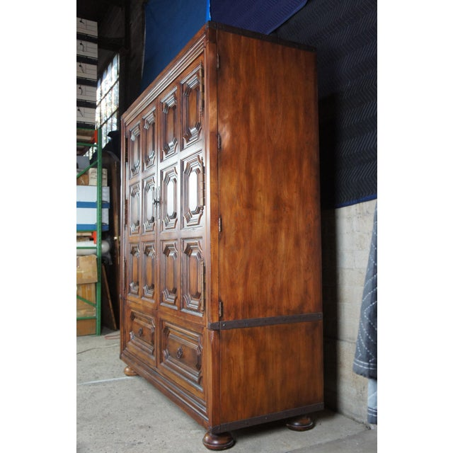 Brutalist Ralph Lauren Old World English Style Oak Sheltering Sky Armoire For Sale - Image 10 of 13