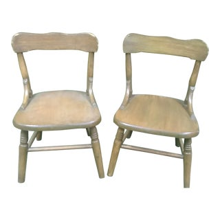 Early 20th Century Antique Oak Children's Chairs - a Pair For Sale