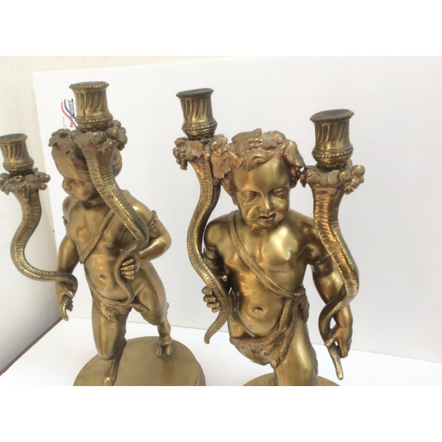 Bronze Figure Candle Holders - A Pair For Sale - Image 9 of 11