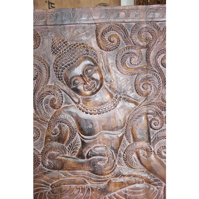 1990s Vintage Indian Sitting Buddha Wall Panel For Sale - Image 4 of 6