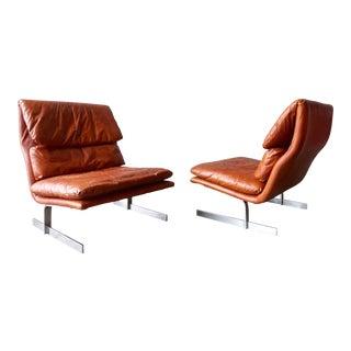 Vintage Bernhardt Leather & Chrome Lounge Chairs - A Pair