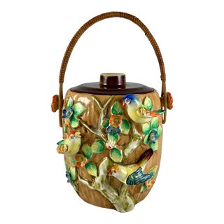 Rattan Handled Bird in Branch Biscuit Japanese Pottery Barrel, 1920s For Sale