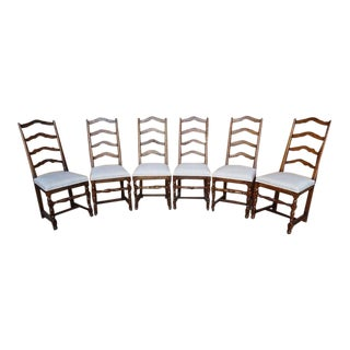 1970s French Country Oak Ladder Back Reupholstered Dining Chairs - Set of 6