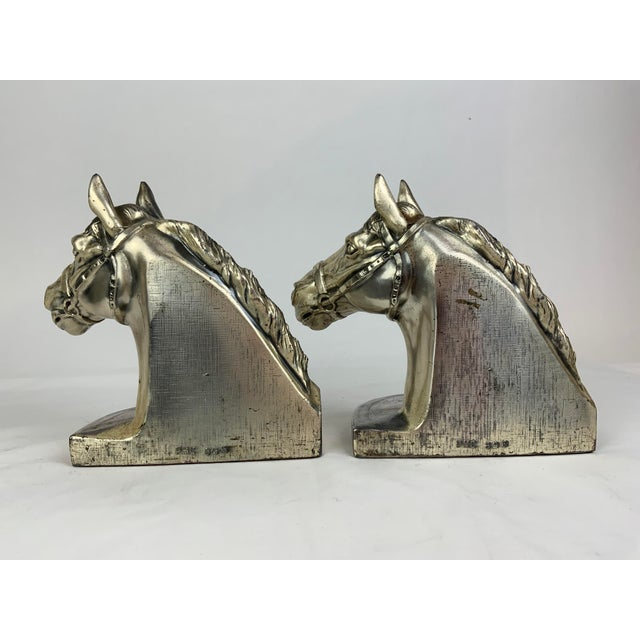 Silver Horse Head Bookends - a Pair For Sale In Los Angeles - Image 6 of 13