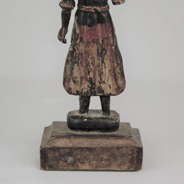 Nicely carved wood and gesso polychrome youth figure Circa 19th century, Spain Height: 11""