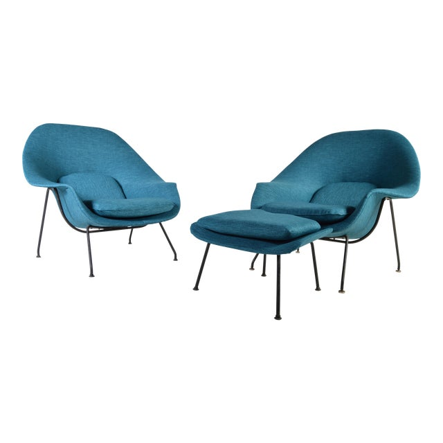 Early 1950\'s Eero Saarinen Womb Chairs for Knoll - A Pair with 1 ...