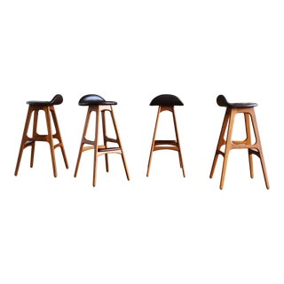 Erik Buch Danish Modern Barstools - Set of 4 For Sale