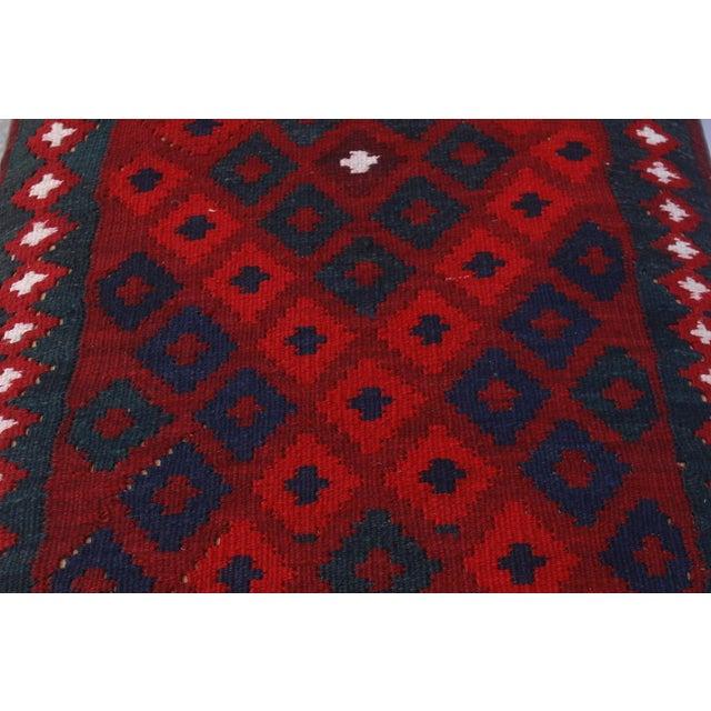 2010s Doris Drk. Red/Red Handmade Kilim Upholstered Settee For Sale - Image 5 of 8