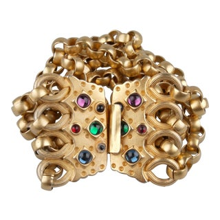 Gold-Tone Bracelet With Multicolored Stones For Sale