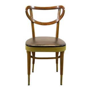 Bentwood Dining Chair With Blue Vinyl Seat