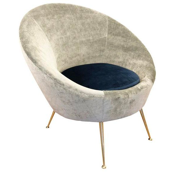 Contemporary Italian Mid-Century Round Velvet Lounge Chair For Sale - Image 3 of 7