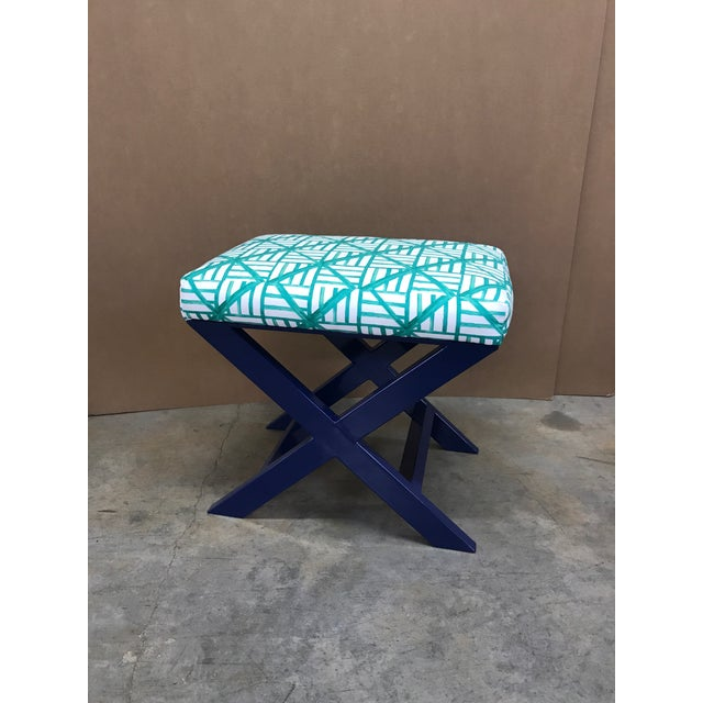 Navy X Bench with bold Brooke Wright Designs green trellis fabric.