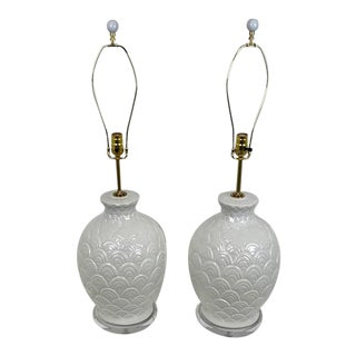 Large Ceramic Fish Scale Table Lamps - a Pair For Sale