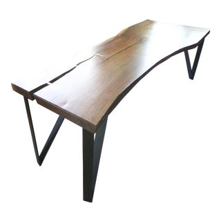 Modern Walnut Slab Dining Table With Solid Brass Inlays Bench Set For Sale