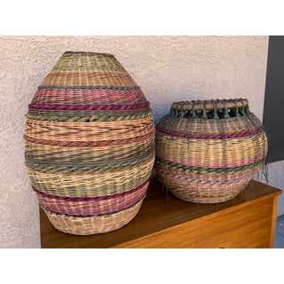 Late 20th Century Vintage Hand Woven Baskets- A Pair Preview