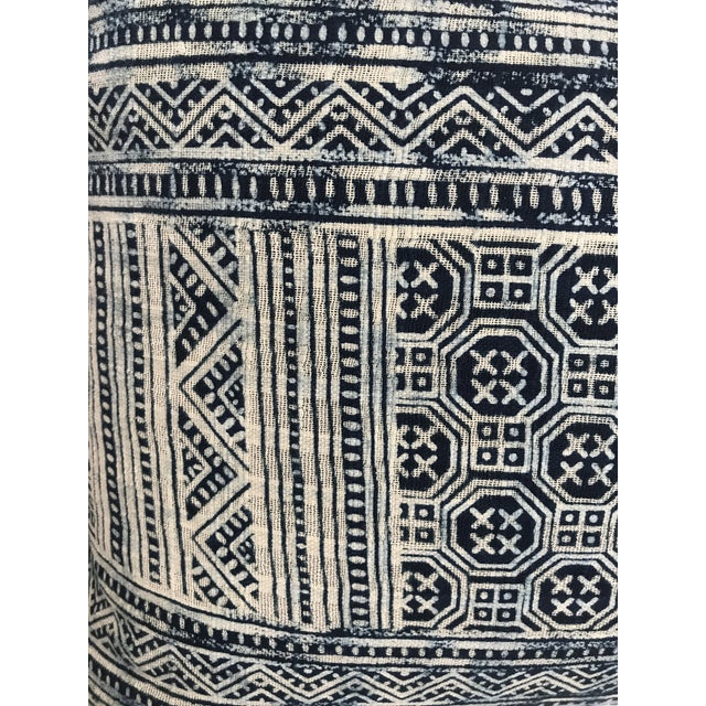 Feather Indigo Hill Tribe Batik Blue & White Cotton Pillow For Sale - Image 7 of 9