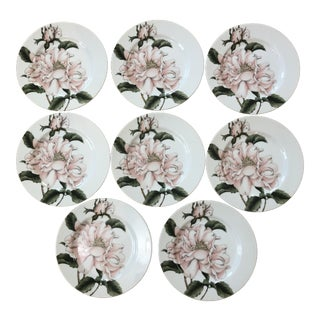 "1980s Fitz and Floyd ""Summer Rose"" Salad Plates - Set of 8"