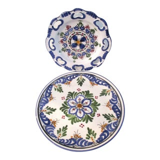 Spanish Pottery Hanging Display Plates - a Pair For Sale