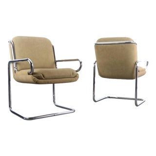 Mid Century Modern Lounge Chairs in Tubular Chrome and Newer Tan Upholstery - a Pair For Sale