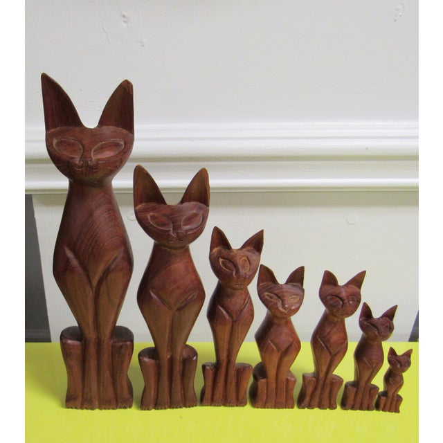 Wood Vintage Mid Century Modern Hand Carved Wood Cats - Set of 7 For Sale - Image 7 of 7