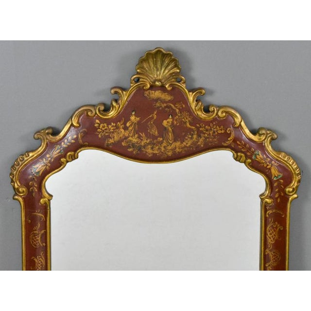 Red 1950s Vintage Chinoiserie Red Laquered Mirror For Sale - Image 8 of 11
