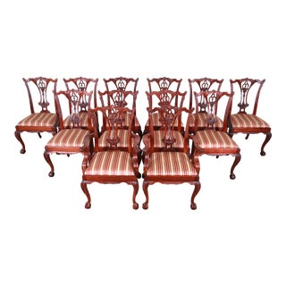 Baker Furniture Chippendale Carved Mahogany Dining Chairs, Set of Twelve For Sale