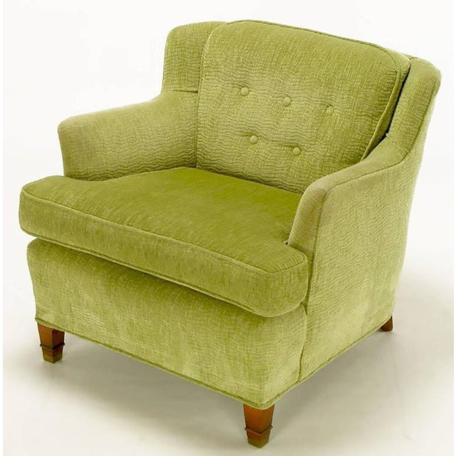 Pair of Pistachio Green Chenille Button-Tufted Low Barrel Back Wing Chairs - Image 4 of 9