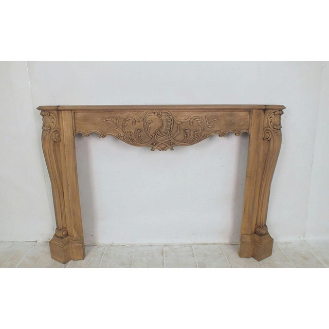French Louis XVI Style Bleached Wood Fireplace Mantle - Image 2 of 4