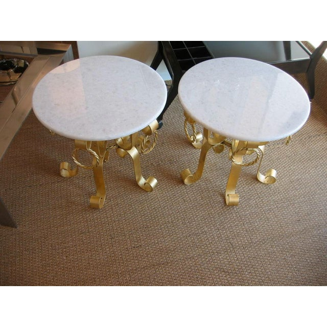 Pair of Vintage Italian Gold Leaf Iron and Marble Top End / Side Tables For Sale - Image 4 of 10