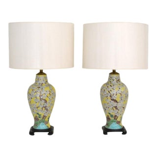 Polychrome Porcelain Table Lamps - a Pair For Sale