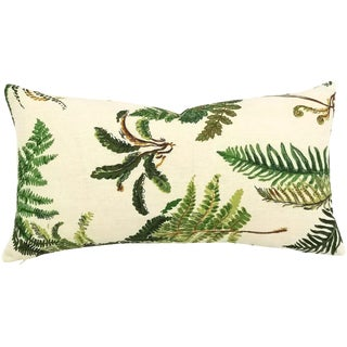 "Boho Chic F. Schumacher Les Fougeres in the Color Document Linen Lumbar Pillow Cover - 10.5"" X 20"" For Sale"