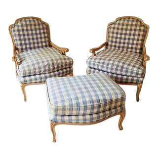 French Country Style Open Arm Chairs & Ottoman - Set of 3