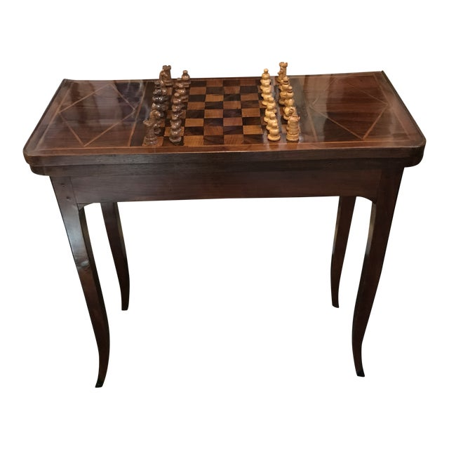 Beautiful rare late 1700's inlaid game table. This period piece was made using peg construction and was designed to be...