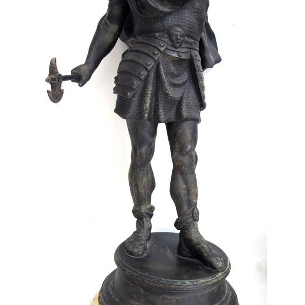 Gothic A Well-Executed Pair of English Spelter Figures of Visigoth Warriors For Sale - Image 3 of 9