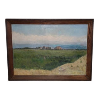 Prather Fresno Family Farm, Prather, Ca Historical Oil Painting 19th Century For Sale