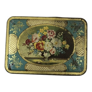 1970s Shabby Chic Floral Biscuit Tin For Sale