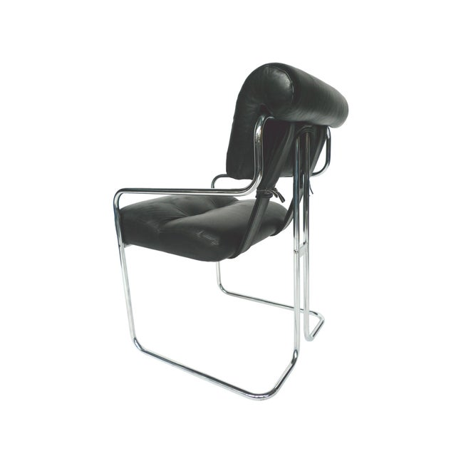 Tucroma Black Leather & Chrome Dining Chairs - Set of 4 - Image 4 of 10